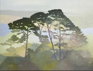Christmas Morning Oil Painting of Trees by Marie Lenclos