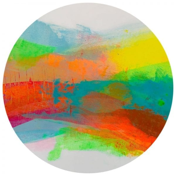 Summer Days Abstract Round Painting By Jane Wachman