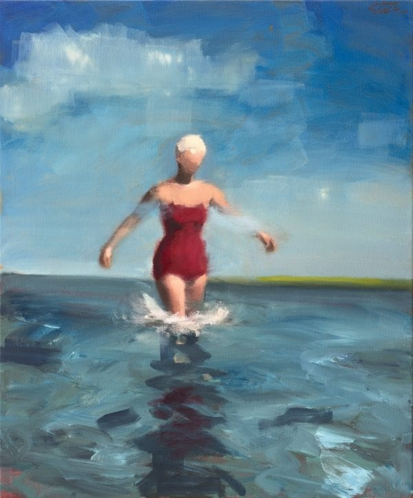 Woman In a White Swim Hat_David Storey_The Art Buyer Gallery