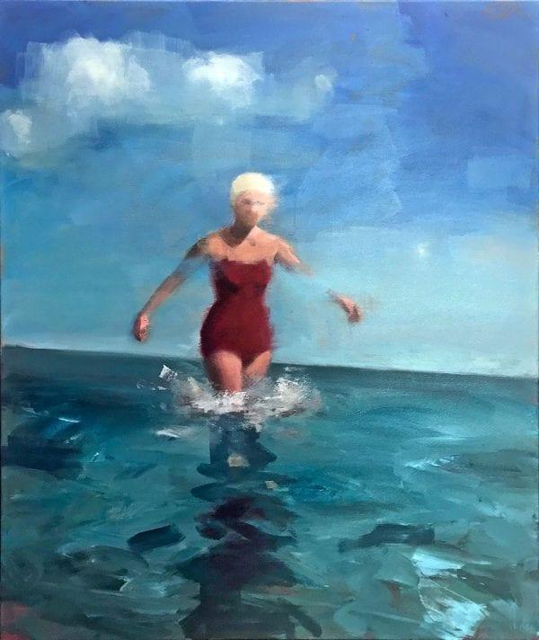 Woman In White Swim Hat_David Storey_The Art Buyer Gallery