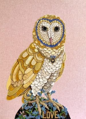 Zara Merrick Textile Art_The Art Buyer Gallery_Owl_Textile Art