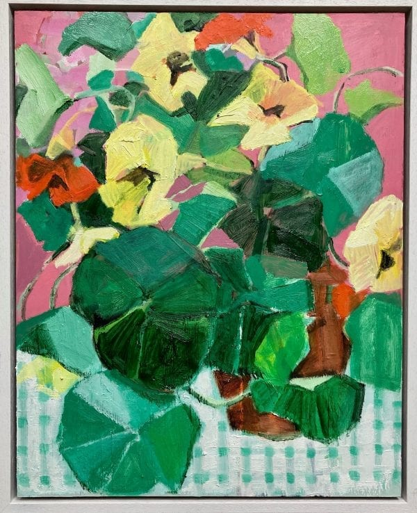 Nasturtiums on Check Cloth_Lia and Marie Fletcher_Mother Daughter Create_The Art Buyer Gallery